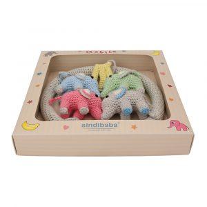 Baby-Mobile gehäkelt Elefanten Geschenkbox (12332)