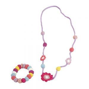 Halskettchen mit Blumen und Perlen (korallfarben) gehäkelt mit Kette