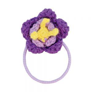 Haar-Gummiband mit Häkel-Blume (violett)