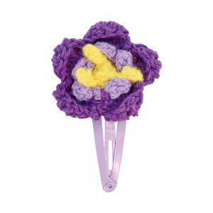 Haarspange mit Häkel-Blume (violett)