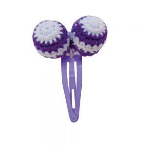 Haarspange mit Häkel-Perlen (violett)