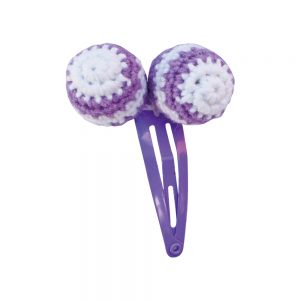 Haarspange mit Häkel-Perlen (lila)