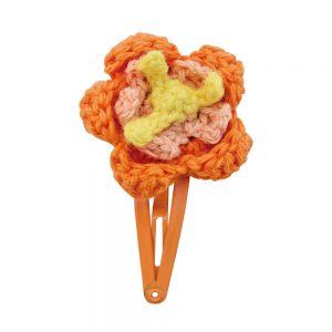 Haarspange mit Häkel-Blume (orange)