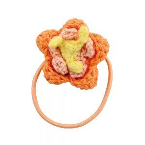 Haar-Gummiband mit Häkel-Blume (orange)