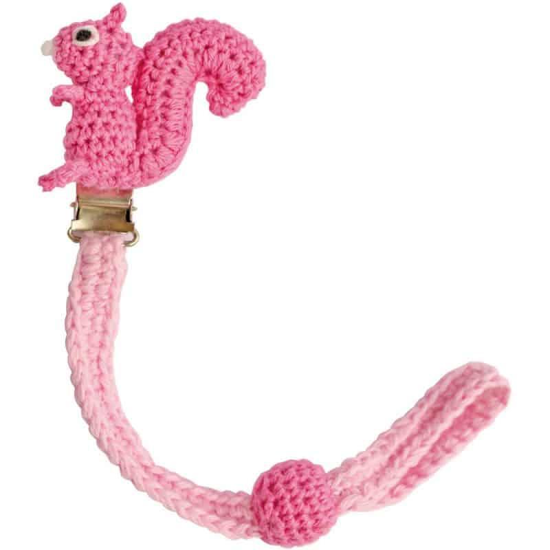 Gehäkelter Schnullerhalter (rosa) mit Eichhörnchen & Silikonring