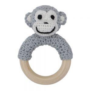 Affen-Rassel auf Greifring aus Holz (pastell-grau)