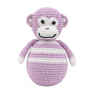 Stehaufmännchen Baby gehäkelt, Affe CHARLIE in rosa, 12263