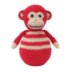 Stehaufmännchen Baby gehäkelt, Affe CHARLIE in rot, 12265