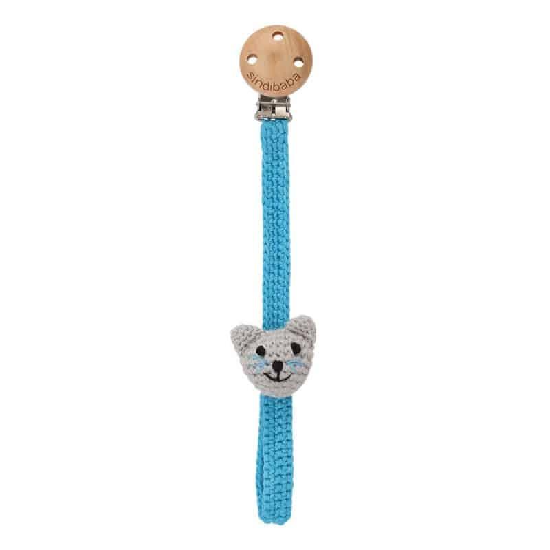 Gehäkelter Schnullerhalter mit Katze FELIX (grau-blau)