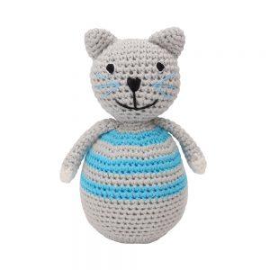 Stehaufmännchen Baby gehäkelt, Katze KITTY in blau, 12316