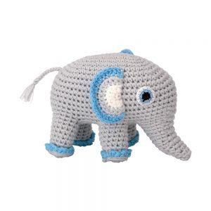 Gehäkeltes Elefanten-Kuscheltier mit Rassel (hellblau)