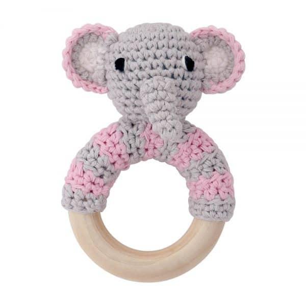 Häkel-Elefant (rosa) mit Rassel auf Greifring aus Holz