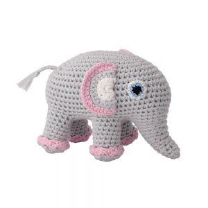 Gehäkeltes Elefanten-Kuscheltier mit Rassel (rosa)