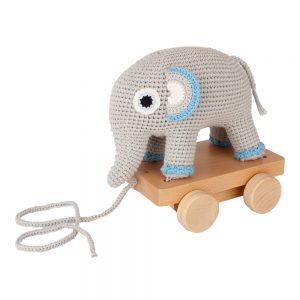 Elefant JUMBO auf Rädern (blau, gehäkelt, mit Rassel)
