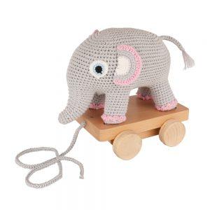 Elefant JUMBA auf Rädern (rosa, gehäkelt, mit Rassel)