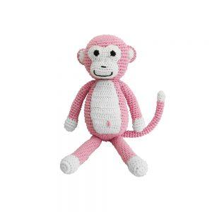 Kinderwagen-Anhänger mit gehäkeltem Affen (rosa)