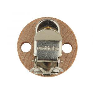 Rückansicht eines SINDIBABA-Befestigungs-Clips aus Buchenholz mit Metallklemme (90003)