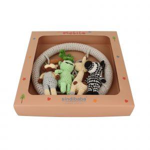 Baby Mobile Safari 2 - Nilpferd, Zebra, Giraffe, Löwe - in Geschenkbox