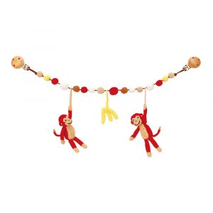 Crochet Baby Pram Toy Stroller Chain with Hanging Monkeys in red | handmade by Sindibaba®