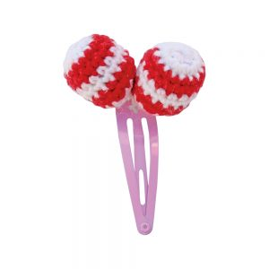Haarspange mit Häkel-Perlen (rot)