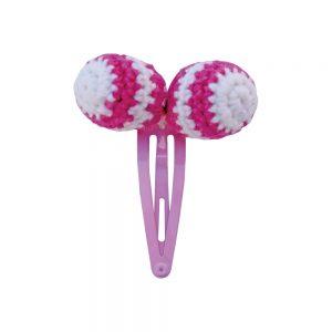 Haarspange mit Häkel-Perlen (rosa)