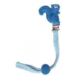 Gehäkelter Schnullerhalter (blau) mit Eichhörnchen & Silikonring