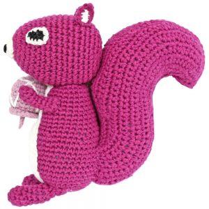 Eichhörnchen gehäkelt (violett) Stofftier mit Rassel
