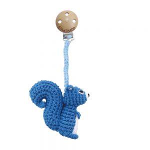 Baby-Kinderwagen-Anhänger (blau) Gehäkelter Clip mit Eichhörnchen