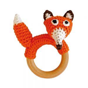Fuchs-Rassel auf Greifring aus Holz (Orange) Gehäkeltes Greifspielzeug