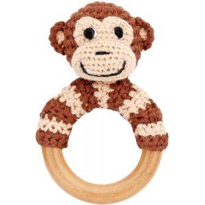 Äffchen-Rassel auf Greifring aus Holz (Braun) Gehäkeltes Greifspielzeug
