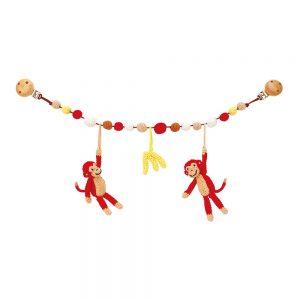 Gehäkelte Kinderwagenkette mit 2 Äffchen, Bananen u. Perlen (rot) Rassel-Effekt