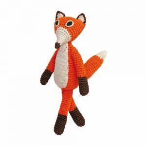 Häkel-Fuchs (Orange) Kuscheltier mit Rassel im Stehen