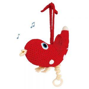 Häkel-Spieluhr-Vogel (Rot) Aufziehschnur versteckt