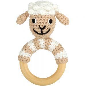 Schaf-Rassel auf Greifring aus Holz
