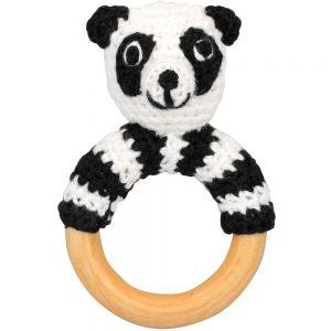 Panda-Rassel auf Greifring aus Holz (schwarz-weiß)