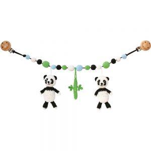 Gehäkelte Kinderwagenkette mit 2 Pandas und Bambus