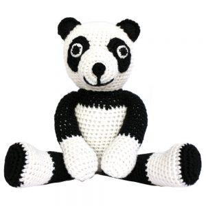 Gehäkeltes Panda-Kuscheltier mit Rassel