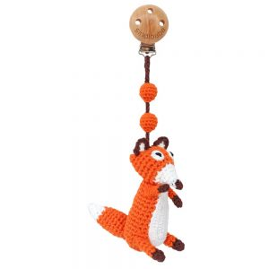 Kinderwagen-Anhänger mit gehäkeltem Fuchs (orange)