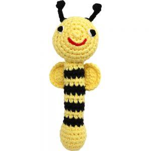 Gehäkelte Baby-Stabrassel (gelb) mit Bienen-Motiv