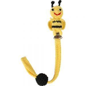 Gehäkelter Schnullerhalter (gelb) mit Biene & Silikonring