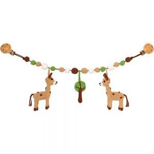 Gehäkelte Kinderwagenkette mit Giraffen (Bio/GOTS)