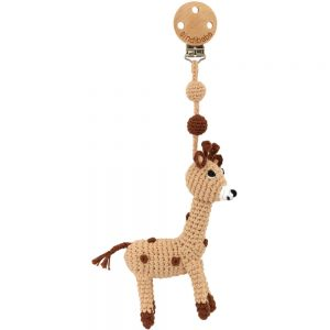 Kinderwagen-Anhänger mit Häkel-Giraffe & Rassel
