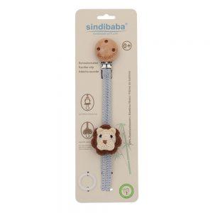Gehäkelter Schnullerhalter mit Löwe & Silikonring in Verpackung