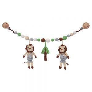 Gehäkelte Rassel-Kinderwagenkette mit 2 Löwen und Baum