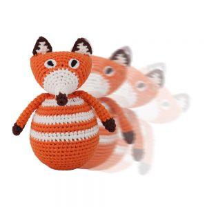 Gehäkelter Stehauf-Fuchs FRED mit Glockenspiel (orange) in Bewegung