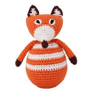 Gehäkelter Stehauf-Fuchs FRED mit Glockenspiel (orange)