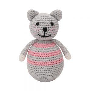 Stehauffigur Katze KITTY, gehäkelt, mit Glöckchen (rosa)
