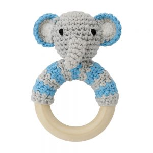 Häkel-Elefant (blau) mit Rassel auf Greifring aus Holz