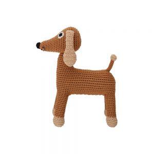 Häkeltier Hund LUCKY (braun) mit Rassel