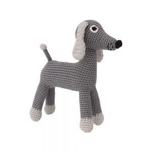 Gehäkelter Schnullerhalter mit Hund LUCKY (grau)